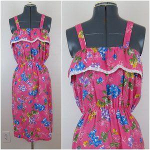 Vintage 1980s Pink Floral Hydrandea Sundress